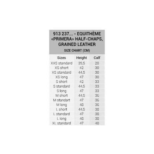 Equithéme säärised Primera suurus tabel