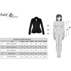 Fair Play softshell võistluspintsak Tiffany mõõdutabel