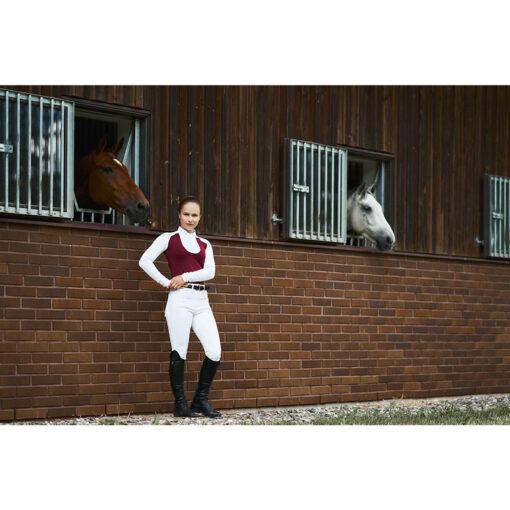Fair Play pikkade varrukatega võistluspluus Justine, ratsapüksid Carina, püksivöö Hematyt ja Mountain Horse ratsasaapad Sovereign High Rider