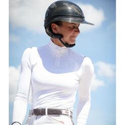 Penelope Leprevost pikkade varrukatega võistluspluus Bruges valge
