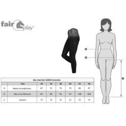 Fair Play täisgrippidega ratsapüksid Sarah mõõdutabel