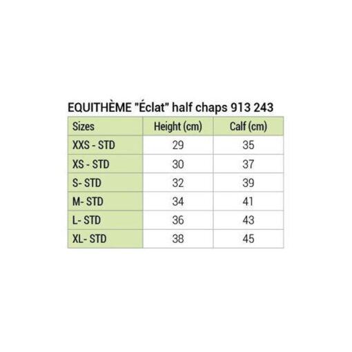 Equithéme säärised Eclat suurus tabel